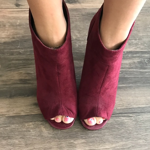 Cato Shoes | Burgundy Peep Toe Booties